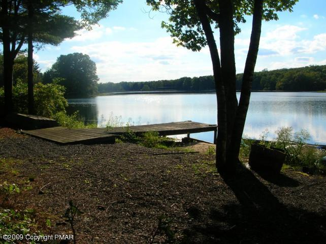 Poconos lake with dock